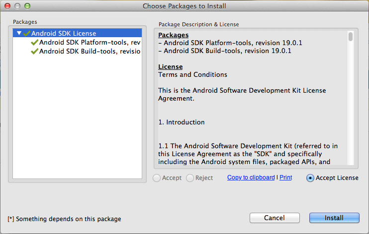 Android SDK Manager Packages to Install