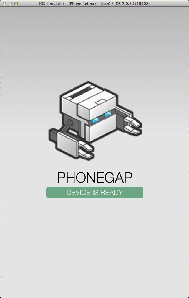 Emulador do iOS rodando